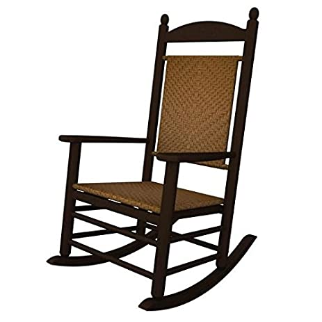 Jefferson Outdoor Polywood Rocking Chair Smooth Back Mahogany Frame