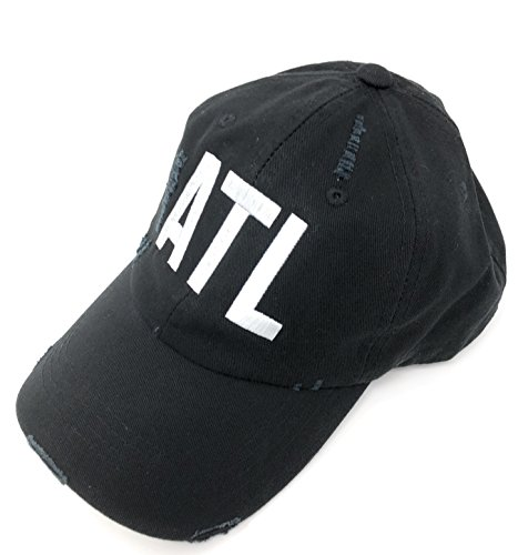 Custom Embroidered ATL Hartsfield Jackson Atlanta Airport Code Hat BK Distressed Black Baseball Hat