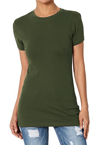 TheMogan Women's Basic Crew Neck Short Sleeve T-Shirts Cotton Tee Army Green M