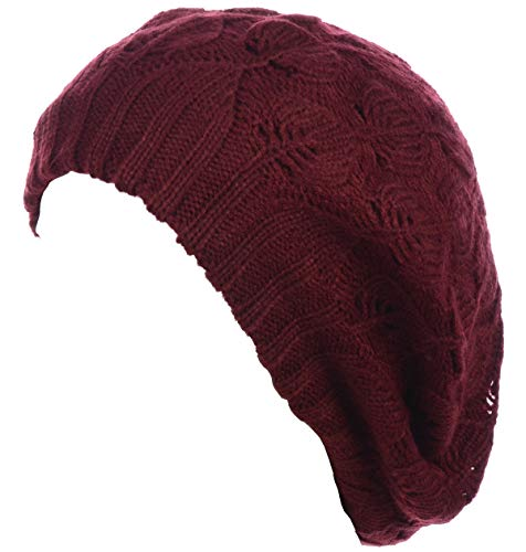 (Be Your Own Style BYOS Winter Chic Warm Double Layer Leafy Cutout Crochet Chunky Knit Slouchy Beret Beanie Hat Solid)