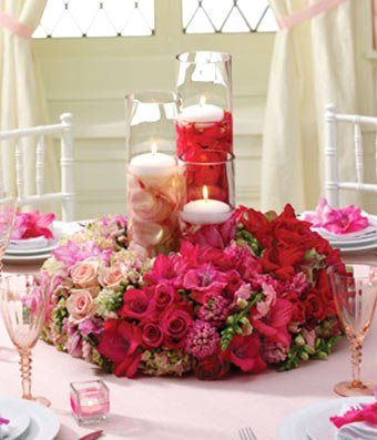 Christmas Flowers - Blushing Beauty Reception Centerpiece by christmas flowers