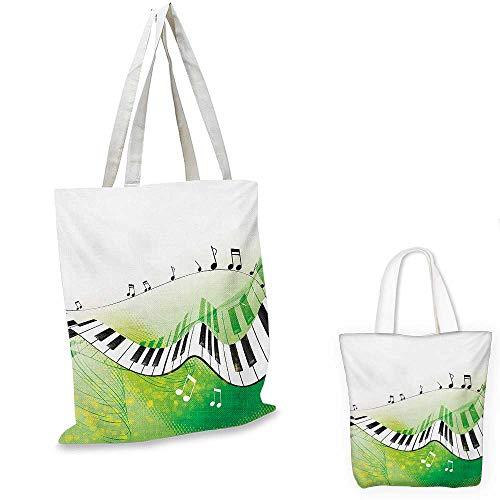 (Music small clear shopping bag Music Piano Keys Curvy Fingerboard Summertime Entertainment Flourish sloth shopping bag Lime Green Black White. 12