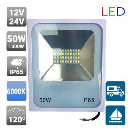 Foco Proyector exterior LED SMD 12/24V 50W 120º Blanco - 6000k ...