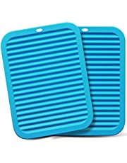 Walfos Silicone Trivets Set - Heat Resistant Pot Holder, Non-Slip and Flexible, 2 Pieces Multi-Purpose Kitchen Table Mat, Prefect for Hot Dishes, Jar Opener, Spoon Holder, Oven Mitts,Food Grade and BPA Free