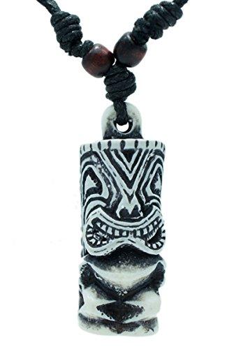 White Dove Necklace (Hawaiian Tiki God Pendant Amulet Totem Beach Jewelry Necklace Adjustble