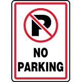 """Accuform Signs MVHR402VS Adhesive Vinyl Safety Sign, Legend """"NO PARKING"""" with Graphic, 14"""" Length x 10"""" Width x 0.004"""" Thickness, Red/Black on White"""