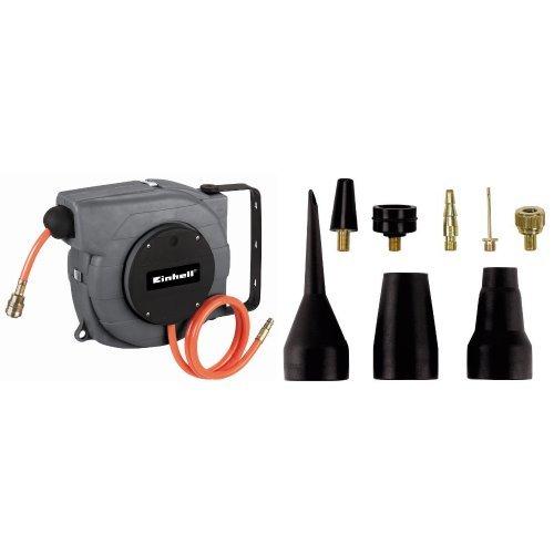 EINHELL DLST 9+1 Avvolgitubo Automatico per Tubo 9+1 M + Einhell - Set adattatori per compressori, 8 pezzi