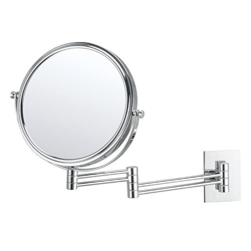 Mirko 10x Magnification 8 Inch Double-Sided Swivel Extendable Bathroom Wall Mount Makeup Mirror, Polished Chrome Finish