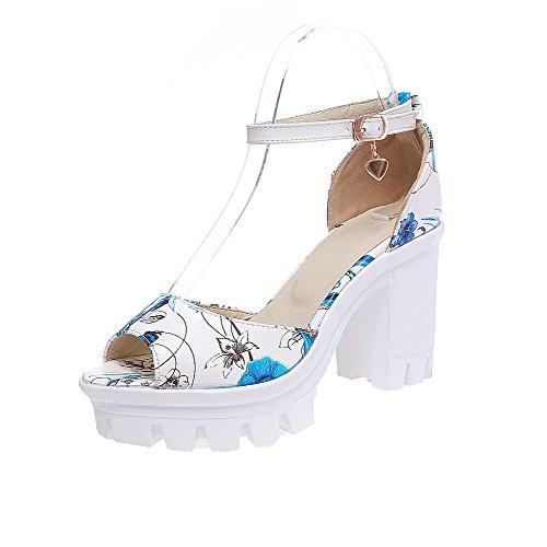 VogueZone009 Women Buckle PU Peep-Toe High-Heels Assorted Color Sandals, CCALP013341 Blue