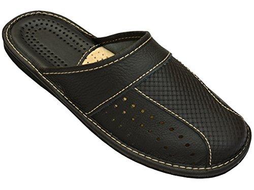 Herren Hausschuhe Leder Pantoffeln Schwarz Modell MZ02 (43)
