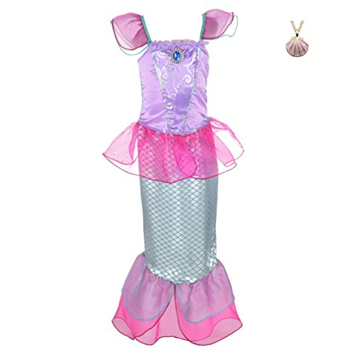 (Lito Angels Girls' Princess Mermaid Ariel Dress Up Costume Fairy Tales Mermaid Outfit with Necklace Size 5 Hot Pink)