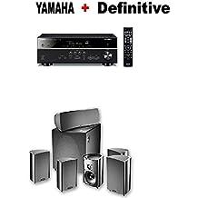 Yamaha RX-V585BL 7.2-Channel 4K Ultra HD AV Receiver + Definitive Technology ProCinema 600 5.1 Home Theater Speaker System Bundle