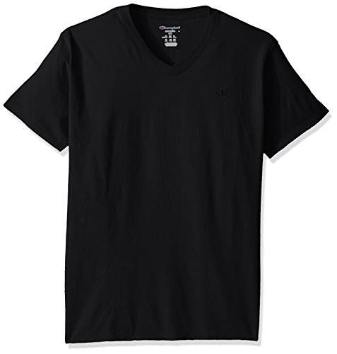 Champion Men's Classic Jersey V-Neck T-Shirt, Black, S