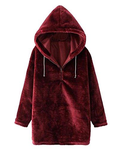 (XQS Women's Winter Thicken Fluffy Velour Pullover Hoodie Sweatshirts Wine Red US M)