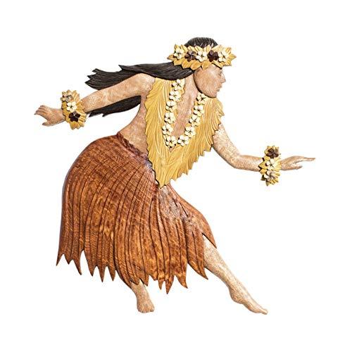 Hawaiian Style Wood Wall Hanging 2 Piece Set with Female & Male Hula Dancers
