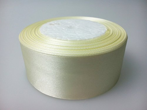 Trimming Shop Full Roll Ribbon - Double Sided Satin Brightly Coloured 40Mm X 22 Metres Ivory