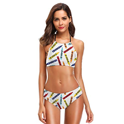 - Laxoinh Crayons Women's Two Piece Solid Elastic String Sexy Bikini Set Swimsuits M