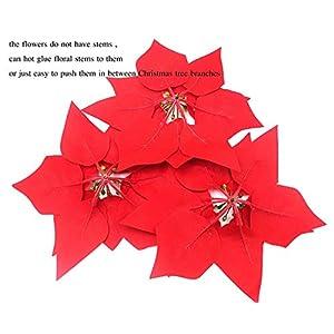 HMILYDYK 20PCS Xmas Tree Ornaments 8 INCH Red Poinsettia Flowers Festival Decor Artificial Flowers 5