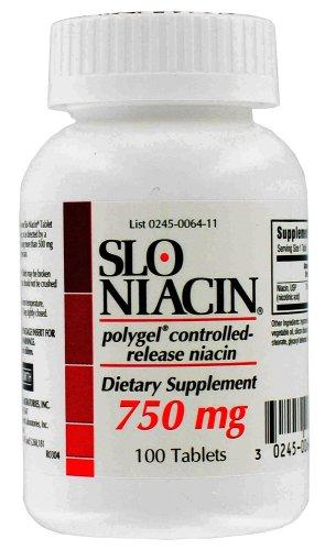 Slo-Niacin Polygel niacine à libération contrôlée, 750 mg, 100 comprimés