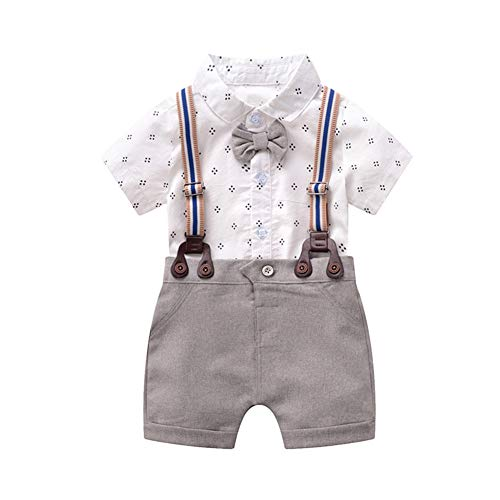 Fairy Baby Newborn Baby Boy Formal Outfit Set Short Sleeve Tuxedo Suit Cotton Shirt+Pant Size 0-3M (White)