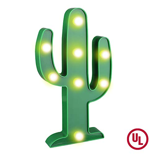 YiaMia LED Cactus Light Cute Night Table Lamp Light for Kids' Room Bedroom Gift Party Home Decorations Green ()
