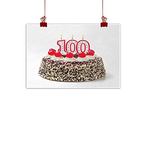Sunset glow Home Wall Decorations Art Decor 100th Birthday,Photo of Pastry Party Cake with Candles and Sprinkles Image Celebration,Multicolor 36