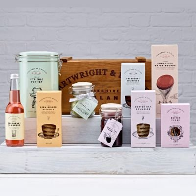 Cartwright and Butler Bishopdale Luxury Sweet Treat and English Tea Hamper in a Vintage Wooden Crate by Cartwright & Butler