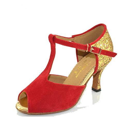 Scarpe QXH Banchetto Tacco Femminile Suede Ballo Alto Red Fondo 6cm da Latino Morbido xRrAfxd