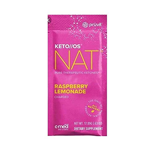 Pruvit Keto//OS NAT Raspberry Lemonade Charged, BHB Salts Ketogenic Supplement - Beta Hydroxybutyrates Exogenous Ketones for Fat Loss (Keto OS NAT Raspberry Lemonade, 20 Sachets)