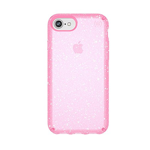 Speck iPhone 8 Presidio Clear + Glitter Case, Scratch-Resistant IMPACTIUM 8-Foot Drop Protected iPhone Case that Resists UV Yellowing (Also Fits 7S/7/6S/6), Gold Glitter/Bella Pink (Difference Between Iphone 7 And Iphone 7s)