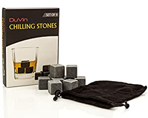 DuVin Chilling Stones Set of 9 Natural Soapstone Whiskey Rocks Beer Iceless Wine Chiller Cocktail