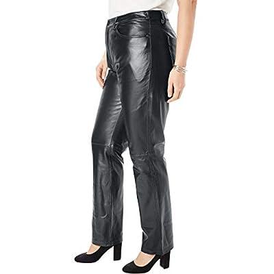 Jessica London Women's Plus Size Straight Leg Leather Pants at Women's Clothing store