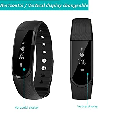 Willful SW322 Heart Rate Monitor Watch Wrist Pedometer Step Tracker Bracelet with Calorie Counter Sleep Monitor Alarm Clock Camera /Music Remote SMS Call SNS Display Notice for iPhone IOS & Android