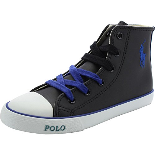 Polo Ralph Lauren Polo Carson II Mid Black Leather Junior Trainers Black