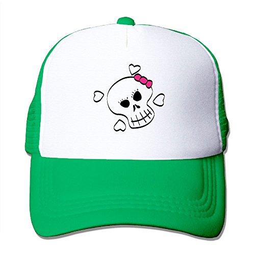 Mad Hatter Girl Makeup (Unisex Skull Girl Mesh Trucker Hats KellyGreen)