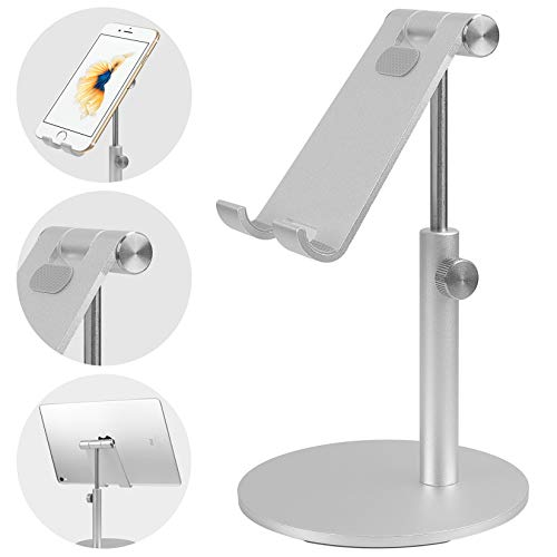 Smartelf Tablet Stand,Angle & Height Adjustable Aluminium Phone Stand Dock Desktop Cellphone Holder Mount for Desk,Compatible with 4-12.9 inch iPad/Nintendo Switch/iPhone/Samsung/Kindle-Silver