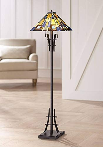 Asian Floor Lamp Bronze Iron Tiffany Style Jewel Tone Art Glass Shade for Living Room Reading Bedroom Office – Robert Louis Tiffany