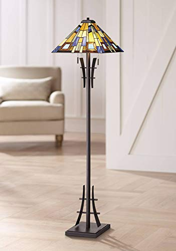 Asian Floor Lamp Bronze Iron Tiffany Style Jewel Tone Art Glass Shade for Living Room Reading Bedroom Office - Robert Louis Tiffany