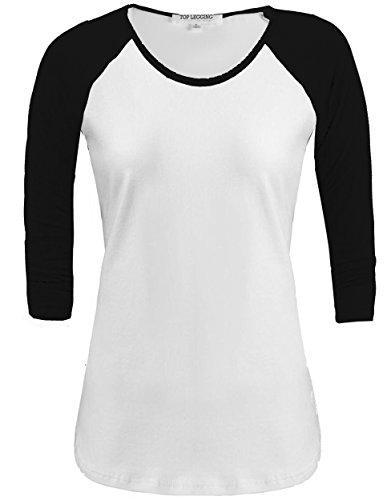 Short Sleeve 3/4 Sleeve Shorts - TL Women's 3/4 Sleeve or Short Sleeve Stretchy Raglan Baseball T-shirt Top RT32773 WHT_BLACK L