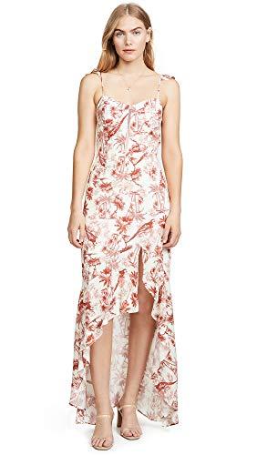 WAYF Women's Etoile Bustier Ruffle Hem Dress, Red Tropical, - Ruffle Trim Bustier