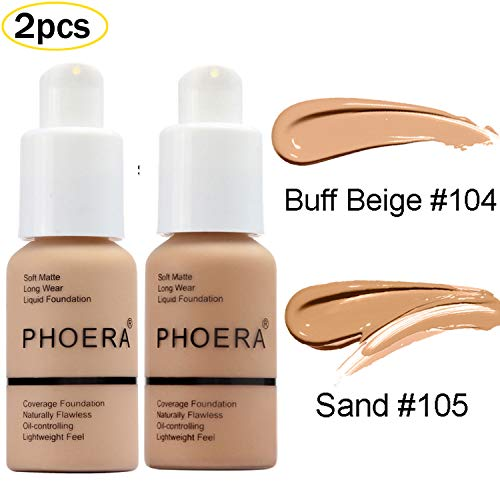 2 Pcs Liquid Foundation 30ml Natural Moisturizing Highlighting Matte Oil Control Concealer Facial Blemish Concealer Color Changing Phoera Foundation for Women Girls