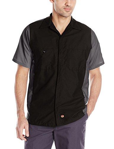 Double Front Canvas Carpenter Jean (Red Kap Men's Crew Shirt, Black/Charcoal, Short Sleeve Large)