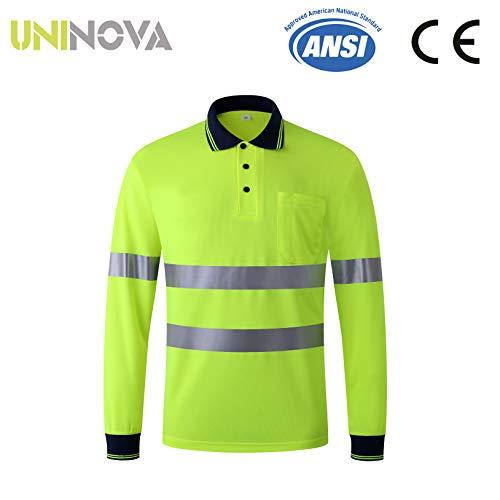 Uninova Safety Shirt High Visibility - Reflective Polo Shirt Long Sleeve for Men and Women - ANSI/ISEA Standards (Extra Large, Long Sleeve)