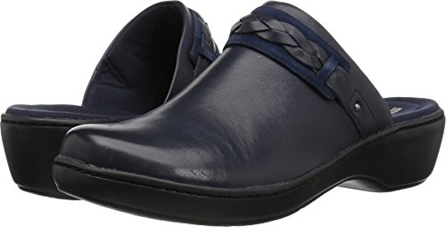 CLARKS Women's Delana Abbey Clog, Navy Leather, 100 M US