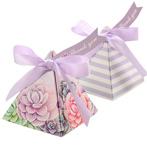 Toyvian 25 Pack Triangle Wedding Gift Boxes Double-Sided Printing Flower Paper Candy Box for Wedding Party Favors (Violet)