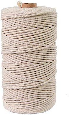 Anlising Makramee Hilo de algodón 3 mm x 200 m, para manualidades, manualidades, cuerda trenzada, hilo de algodón, hilo de macramé, 100% algodón natural, color blanco: Amazon.es: Hogar