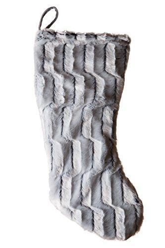 Fur Christmas Soft Stocking (Faux Fur Christmas Stocking, Modern Grey Plush Rabbit)