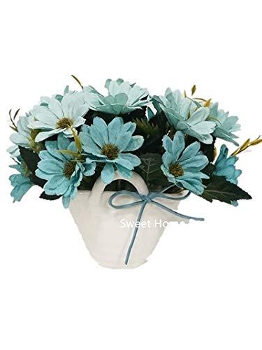 Sweet Home Deco 7''T Silk Daisy Floral Arrangement in Basket Shape Ceramic Vase Table Bonsai Home Decorate Flowers (Blue) -