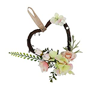 SM SunniMix Heart Rattan Artificial Rose Flower Wreath Spring Summer Garland Wedding Festival Home Decor 46