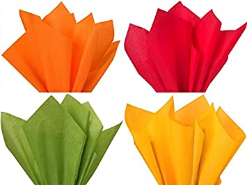 Assorted 4 Colors Fall Thanksgiving Holiday Colors Gift Grade Tissue Paper Sheets - 15' x 20' Tangerine,RED,Oasis Green, Goldenrod - Choose Package Amount (12) DPC